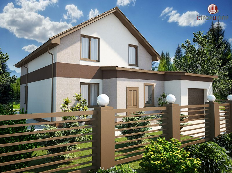 Двухэтажный дом с тамбуром и смежным гаражом на две машины на земельном участке 4,4 сотки