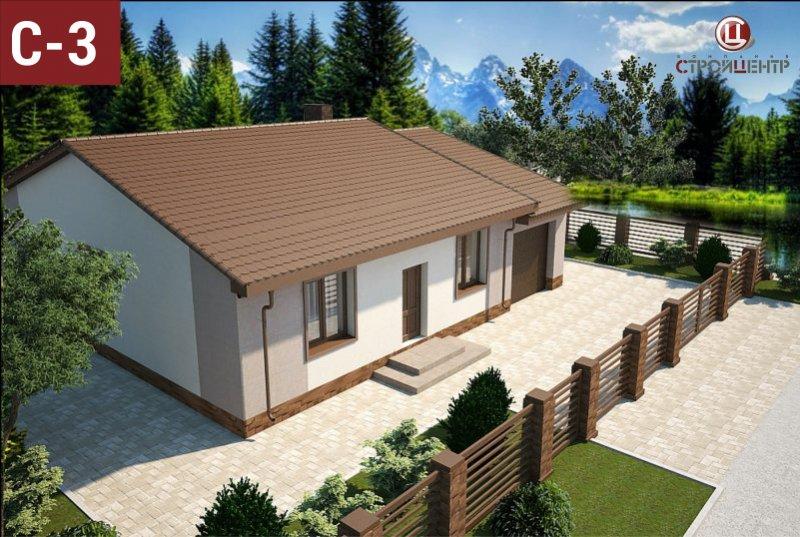 С-3 Одноэтажный дом с крытой террасой и смежным гаражом для двух автомобилей на земельном участке 4,4 сотки