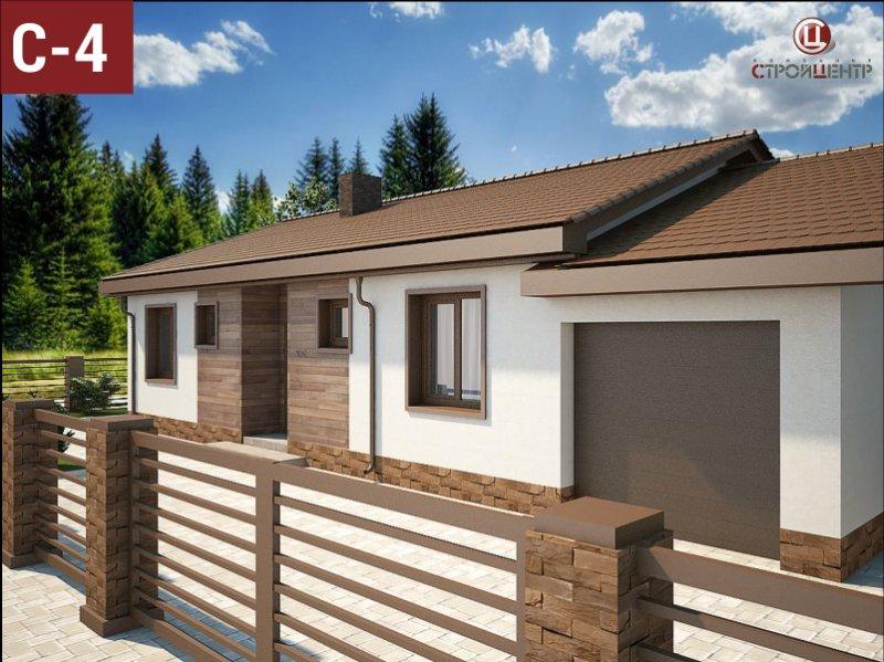 С-4 Одноэтажный дом с крытой террасой и смежным гаражом на земельном участке 5,62 сотки
