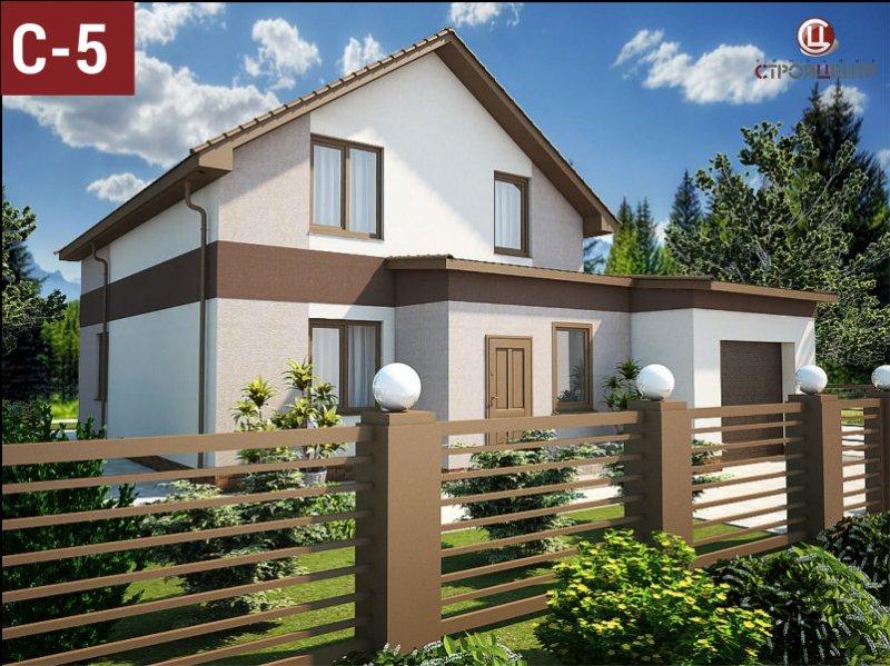 С-5 Двухэтажный дом с тамбуром и смежным гаражом для двух автомобилей, на земельном участке 4,4 сотки